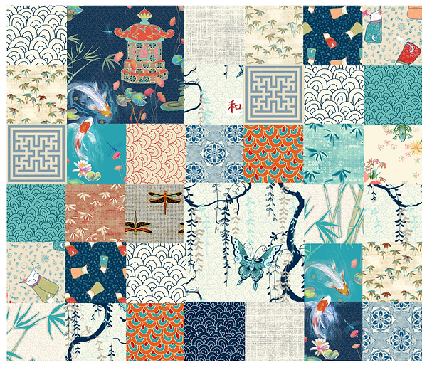 Designed by Debby's Japanese designed Quilt with koi fish and vines
