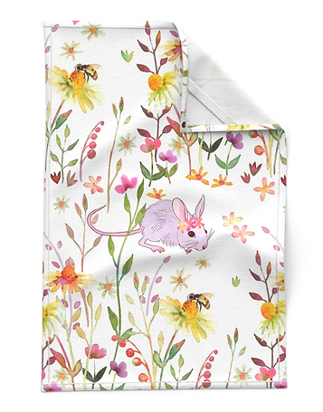 Designed by Debby Mouse in a flower field - Tea Towel