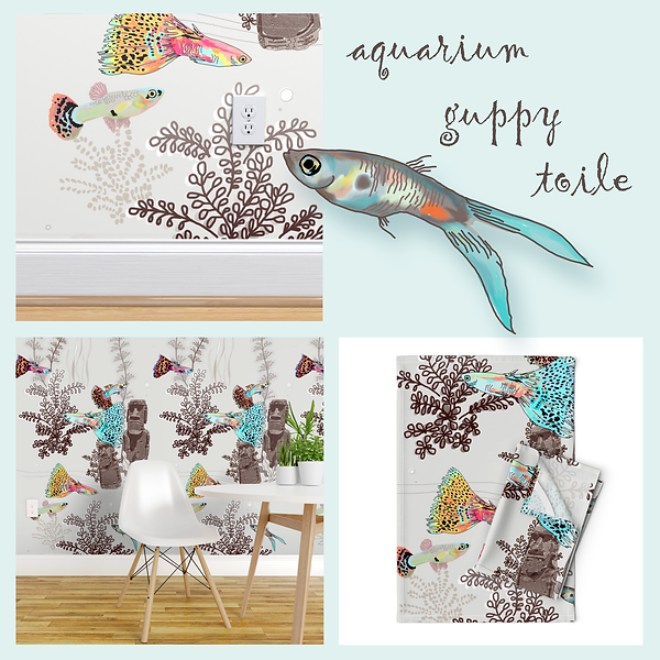 Guppy Designs for wallpaper, tea towels, table mats, and more from Designed by Debby
