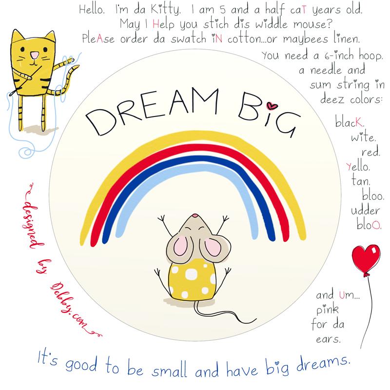 Dream big mouse embroidery design.