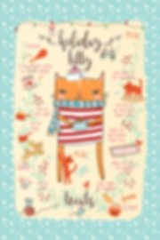 Holiday Kitty Tea Towel