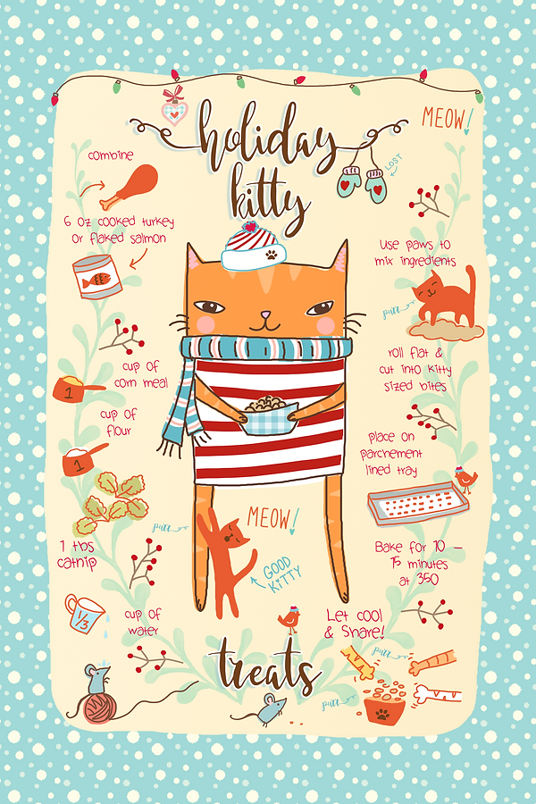 Holiday Kitty Tea Towel by Designed by Debby
