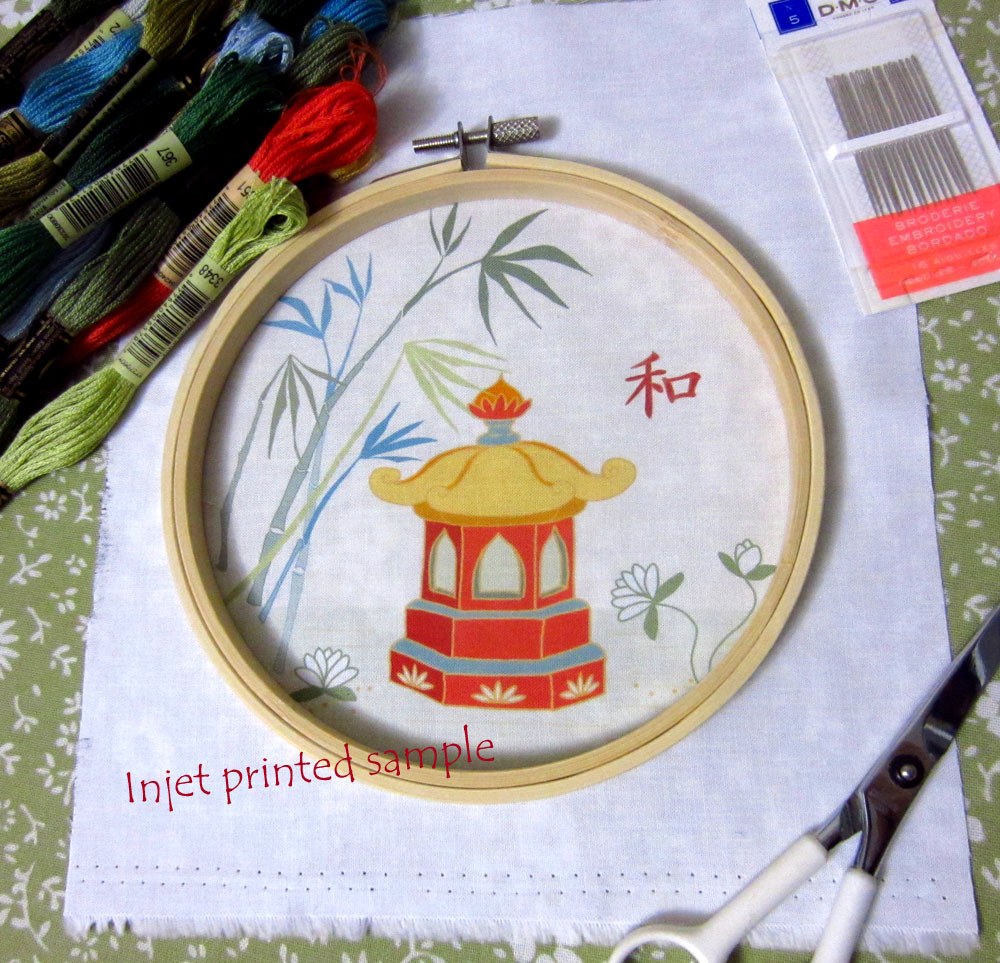 Printed embroidery pattern, hoop and floss.