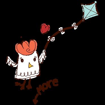 Bok Bok Chicken flying a kite.