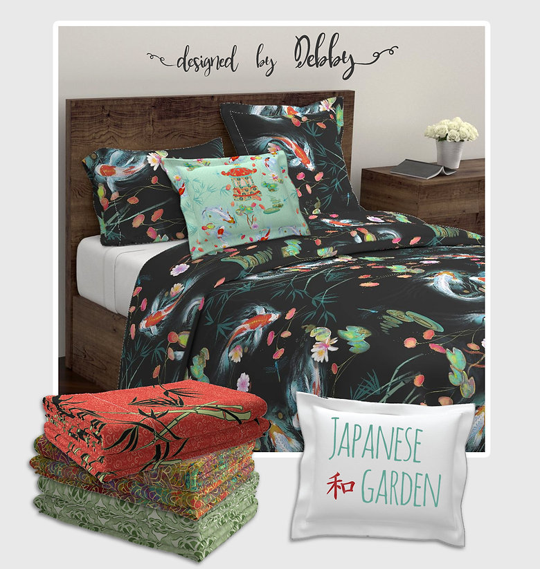 Japanese Koi fish comforter, pillows and house decor with unique art by American artist Debby Badder
