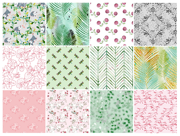 Designed by Debby Sampler of Fabrics in a Spring Collection of plantlife in soft pastel pinks and greens