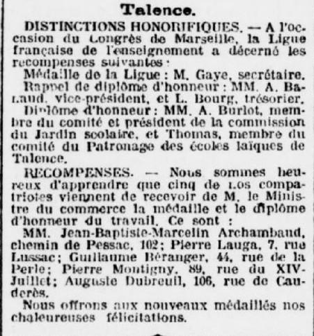 Talence Distinctions honorifiques