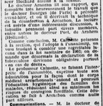 Professeur Arnozan désinfection d'Arcachon annonce au Congrés.