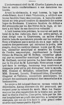 Enterrement de Charles Latterade Franc Maçon
