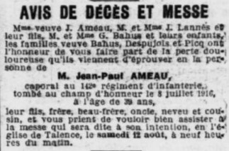 Ameau Jean Paul, présent sur le monument