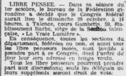 Libre Pensée section Talence