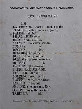 1872 Election Laterrade: Il n'y a que l'archiviste de Talence qui se souvenait du prénom de l'élu.