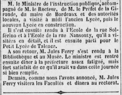 Visite de Jules Ferry à Victor Louis