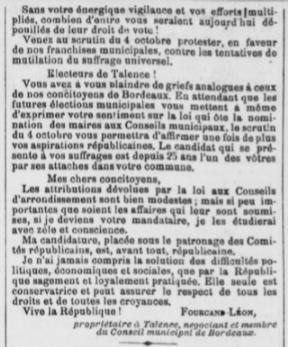 Elections Léon Fourcand sa lettre d'intention