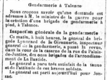 Création Brigade de Gendarmerie