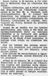 Memorial Day Cimetière des Alliés
