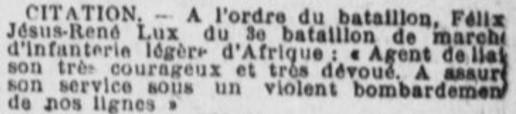 Citation LUX Félix Jésus René