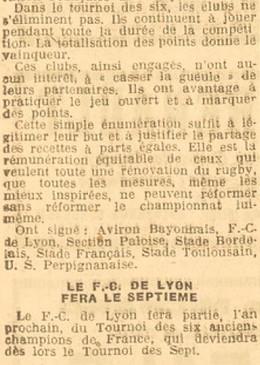 007 Lyon rejoint le Tournoi