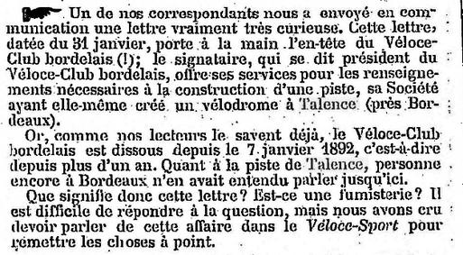 Le Vélodrome de Talence une idée du XIXème Siècle