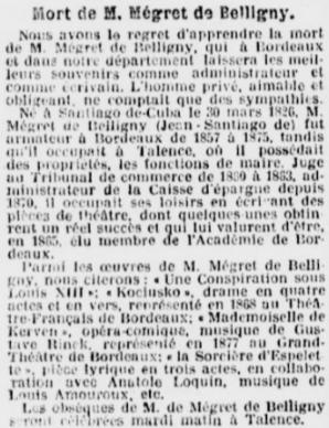 Décés de Mégret de Belligny ancien Maire