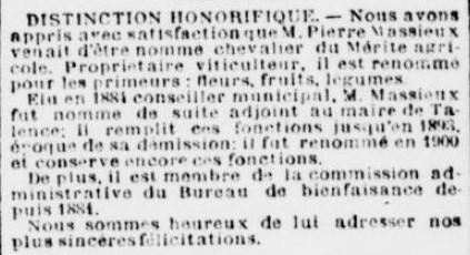 Mérite agricole Massieux Conseiller municipale