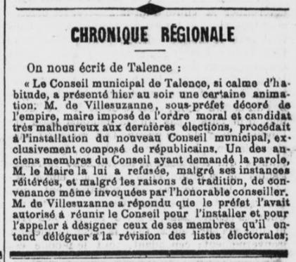Maire Bonapartiste imposé par le préfet.