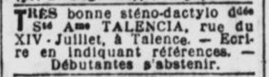 Embauche Sténo Talencia
