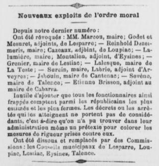 Talence Sévène révoqué  comme Laterrade.