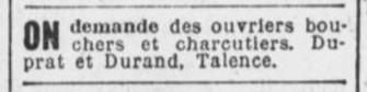 Bouchers charcutiers Duprat Durand
