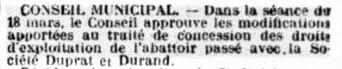 Concession de l'abattoir à Duprat Durand