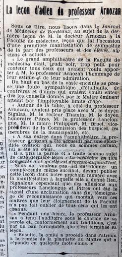 Adieu au professeur Arnozan