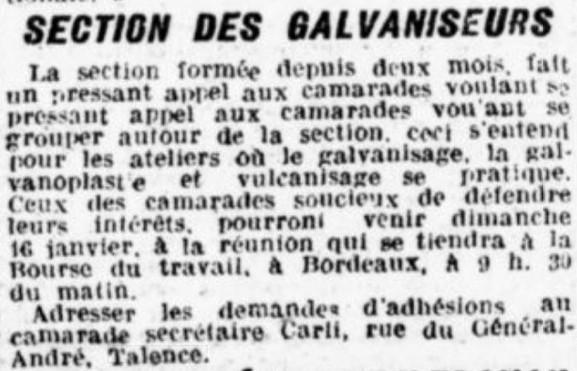 Section Galvaniseurs