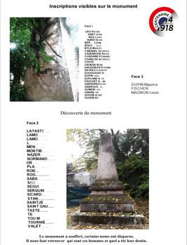 Découverte du monument et déchiffrage des noms.