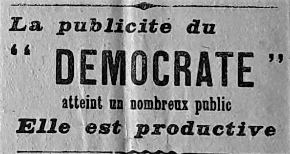 Publicités parues dans Le Démocrate
