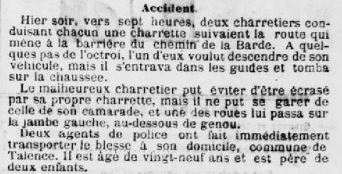 Accident de charettes