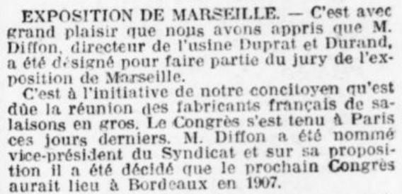 Exposition Directeur de Duprat Durand juré à Marseille