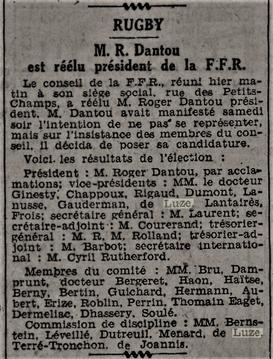 Accord à la FFR De Luze vice président.
