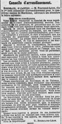 Elections cantonales Léon Fourcand