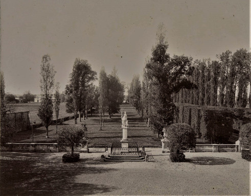 1783-1896 Château Raba Statue de la Liberté à droite l'allée d'arrivée route de Bayonne à gauche au fond la ferme