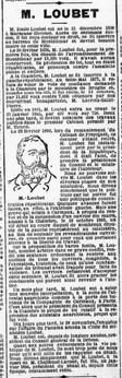 Emile Loubet Premier Président ayant son portrait dans toutes les Mairies.