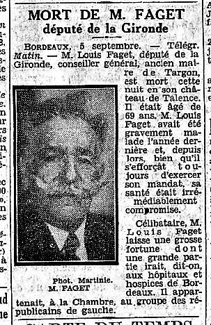 Faget Louis Député de la Gironde