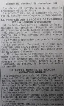Bergonié  Grand Croix de Légion d'honneur