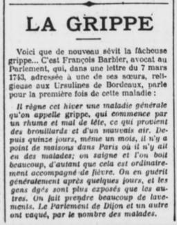 Apparition de la grippe en 1743