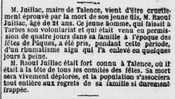 Mort du fils de M. Juillac