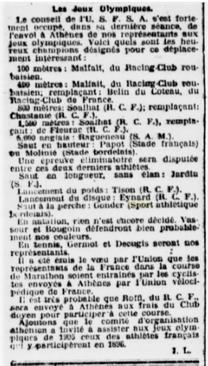 Sélection pour les JO de 1906.