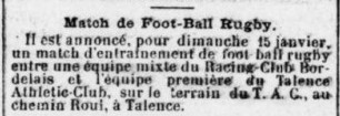 Rue Roul Terrain du Talence Athlétique Club