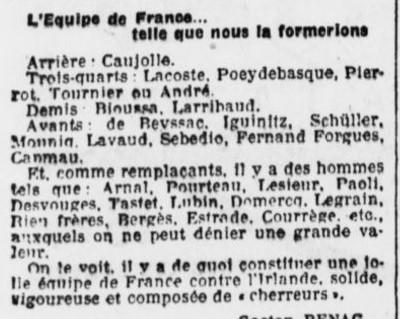 Tastet du SABT préssenti pour l'Equipe de France.