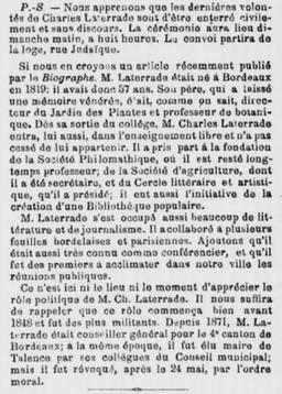 Mort de Charles Latterade Maire de Talence