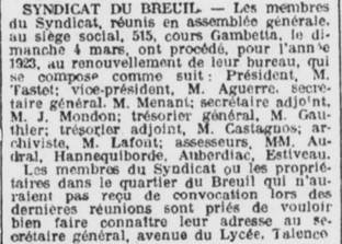 Comité du Breuil bureau