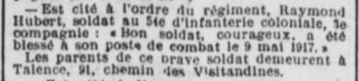 Citation HUBERT Raymond